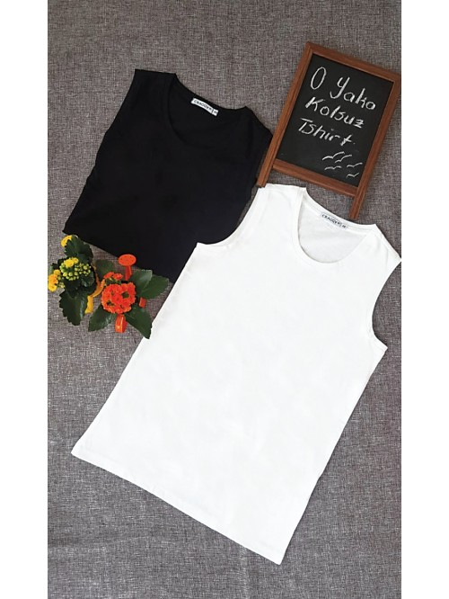 0 Collar Sleeveless T-Shirt